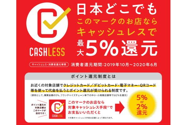 10月からのキャッシュレス決済還元は「さらに5% or 2%還元」!