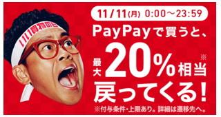 11月11日限定で「Yahoo!ショッピング 最大20%付与」