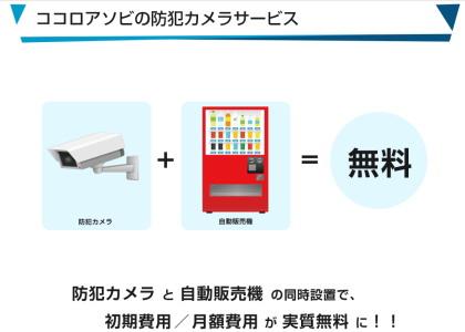 「自動販売機」と「防犯カメラ」の同時設置で月額料金が無料になるサービス!